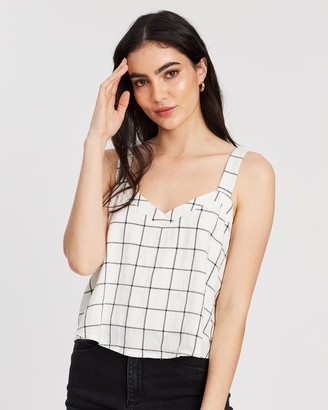 DRICOPER DENIM - Women's White Sleeveless Tops - Cami Linen Check Top - Size One Size, L at The Iconic