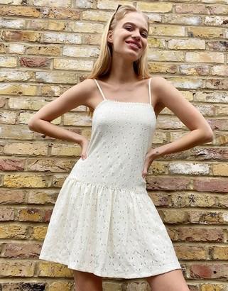 Bershka strappy sundress in white