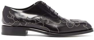 Alexander McQueen Stud Flame Leather Oxford Shoes - Mens - Black