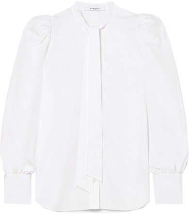 Givenchy Pussy-bow Cotton-poplin Blouse - White