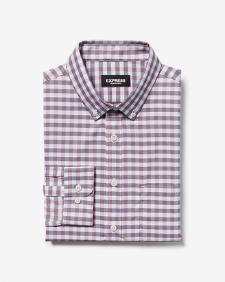 Express Classic Check Print Wrinkle-Resistant Performance Dress Shirt