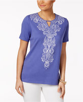 Alfred Dunner Reel It In Embroidered Beaded Top