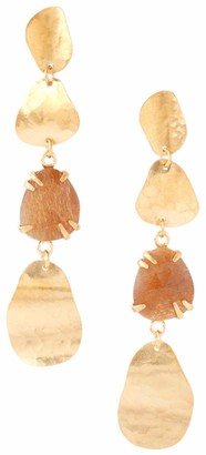 Chan Luu 18k Gold Plated Tiered Circle and Semi Precious Stone Drop Earrings