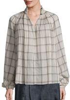 Tibi Beebe Edwardian Plaid Cotton Tunic