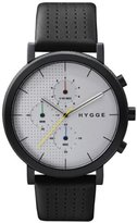 Hygge 2204 Unisex Quartz Watch with Silver Dial Chronograph Display and Black Leather Strap MSL2204BC(CH)