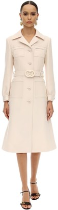 Gucci Gg Long Belted Wool Natte Coat