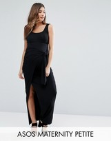 Asos Petite Over The Bump Maxi Skirt With Twist Knot