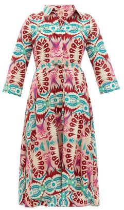 Le Sirenuse Le Sirenuse, Positano - Lucy Fishtail-print Cotton Dress - Womens - Pink Print