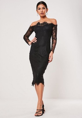 Missguided Black Eyelash Lace Bardot Midi Dress
