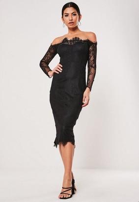 Missguided Eyelash Lace Bardot Midi Dress