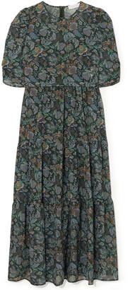 See by Chloe Gathered Printed Georgette Midi Dress