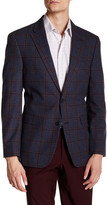 Tommy Hilfiger Ethan Blue Windowpane Two Button Notch Lapel Suit Separates Jacket