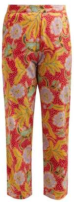 Rhode Resort Rohan Floral-print Cotton Trousers - Womens - Red Multi