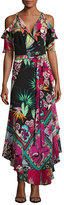 Etro Tropical-Print Cold-Shoulder Wrap Dress, Black