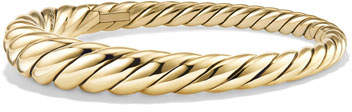 David Yurman 9.5mm Pure Form Cable 18K Bracelet, Size S