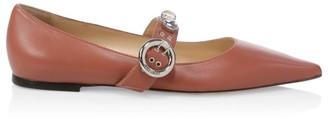 Jimmy Choo Gela Point-Toe Leather Mary Jane Flats