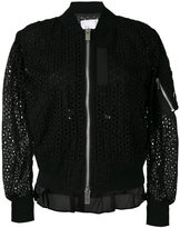 Sacai eyelet lace bomber jacket - women - Cotton/Polyester/Cupro - 2