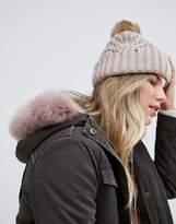 UGG Fur Pom Grey Cable Cuff Beanie Hat