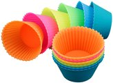 [24 Pack] IPOW Silicone Reusable Cake Moulds Sets Backing Cups Cupcake Liners Non-stick Bakeware for DIY Muffin Bread Candy Snacks Making Chocolate Molds (Multicolour)