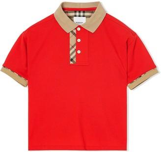 BURBERRY KIDS Vintage Check Trim Cotton Polo Shirt