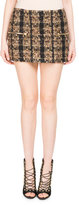 Balmain Tweed Zip-Pocket Miniskirt