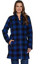 Denim & Co. Reg Plaid Sharpa Lined Fleece 2-WayZip Up Jacket