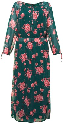 Ulla Popken Floral Print Maxi Dress with Long Sleeves