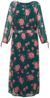 Ulla Popken Floral Print Maxi Dress with Long Sleeves