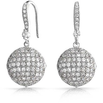 Bling Jewelry Rhodium Plated Brass Pave CZ Disco Ball Drop Earrings