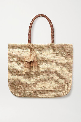 Kayu Haven Tasseled Leather-trimmed Straw Tote - Neutral