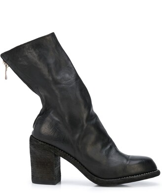 Guidi Creased Zipped Ankle Boots