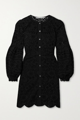 Veronica Beard Yana Broderie Anglaise Cotton Mini Dress - Black