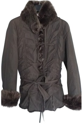 Patrizia Pepe Brown Mongolian Lamb Leather Jacket for Women