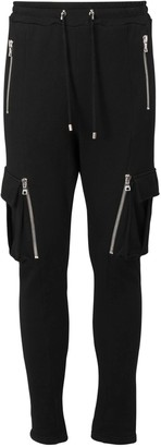 Balmain Flocked Logo Cotton Sweatpants W/ Zips