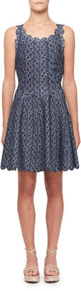 Alaia Camee Scallop-Trimmed Short-Sleeve Dress