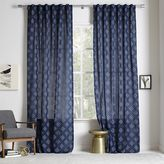 Stepped Geo Woven Curtain - Midnight