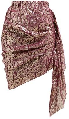 Romance Was Born Disco Paisley-jacquard Ruched Silk-blend Skirt - Burgundy Multi