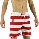 SAFS Men's Casual Cotton Wide Striped Swim Trunks Boardshorts Red
