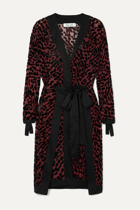 Diane von Furstenberg Pianna Satin-trimmed Leopard-print Devore-chiffon Wrap Dress - Black