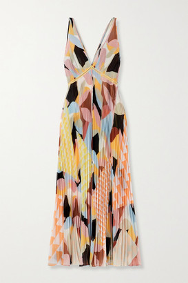 Self-Portrait - Crochet-trimmed Pleated Printed Crepe De Chine Maxi Dress - Pink