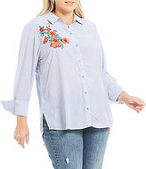 Democracy Plus Button Down Pinstripe Embroidery Shirt