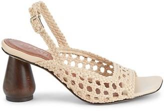 Souliers Martinez Monterrey Woven Leather Slingback Sandals