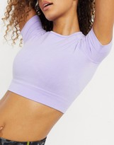 Thumbnail for your product : Chi Chi London Kellie cropped gym top co-ord in lilac