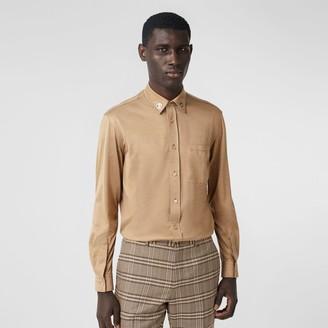 Burberry Classic Fit Monogram Motif Silk Jersey Shirt