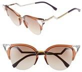 Fendi Women's Crystal 52Mm Tipped Cat Eye Sunglasses - Brown/ Palladium/ Yellow