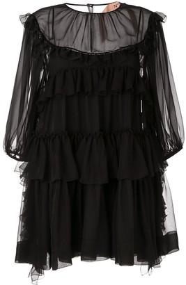 No.21 ruffle trim mini dress
