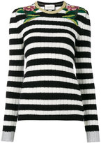 Gucci embroidered stripe top - women - Viscose/Cashmere/Wool/Metallic Fibre - XS