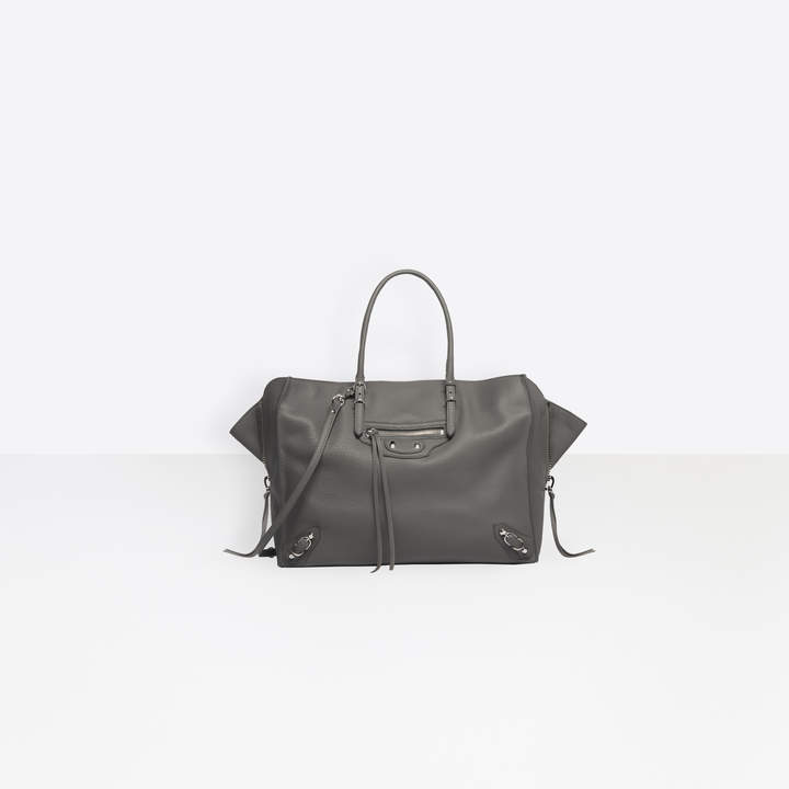 Balenciaga Cross body horizontal tote bag in baltimore calfskin with zips and gussets at both sides
