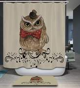 Shine SUN-Cartoon Animal Decor Waterproof And Mildew Polyester Shower Curtain With 12 Hooks