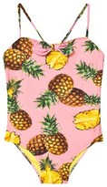 Dolce & Gabbana Pink Pinapple Print Bow Front Swimsuit